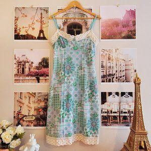 Volume One 70s-Inspired Boho Midi Tank Top Dress